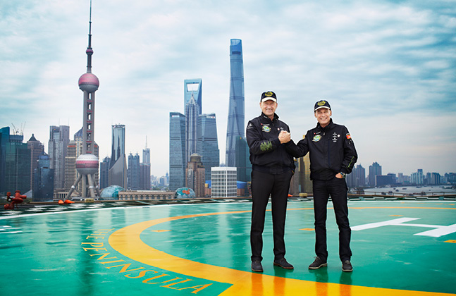 Solar Impulse Pilots Snapped on Deckshield Bedecked Helipad